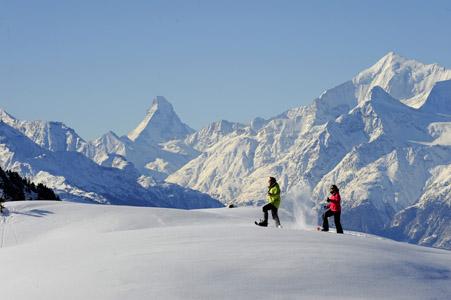 Il  Cervino. Aletch Arena. Schneeschuhwandern. Foto gentilmente concessa dall'Ufficio del Turismo.