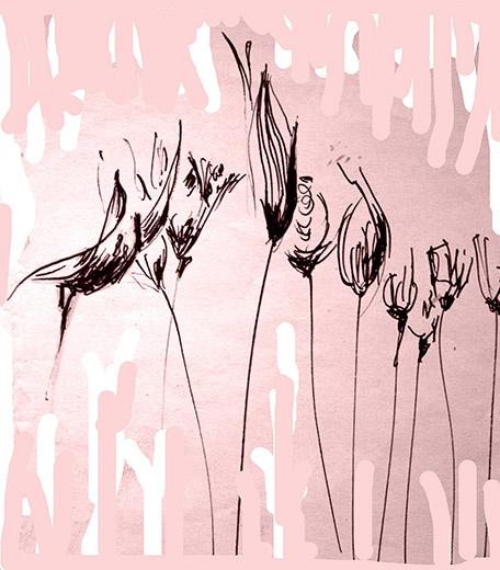 fiori neri fondo rosa per asta