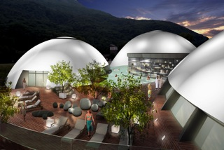 terme Splash & Spa, terrazza, piscine esterne, cupole bianche illuminate.