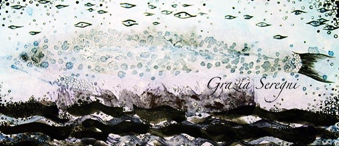 arte Grazia firma 672 pesce ok stampa china e acqurello chiaro