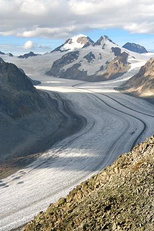 Il ghiacciaio più lungo delle Alpi. Aletch Arena.