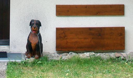 Riederalp casa con cane in legno