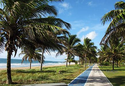 Brasile, la lunga passeggiata, sicurissima perché sorvegliata da guardie giurate, a Guarajuba vinco alla posada Costa Smeralda.