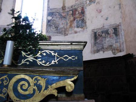 Cascia. Chiesa di San Francesco, particolare dell'altare.