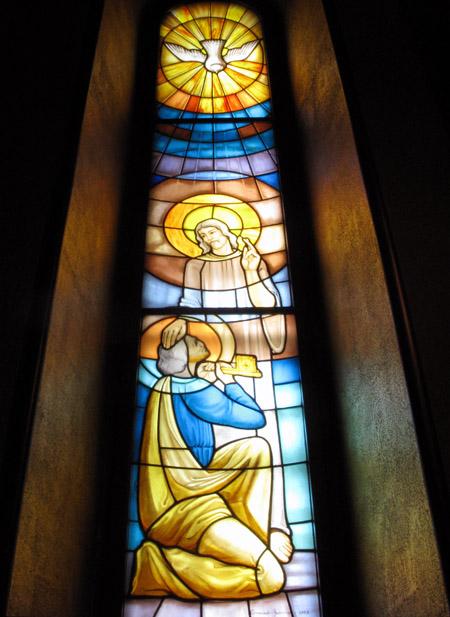 Cascia.Santuario di Santa Rita: vetrate.