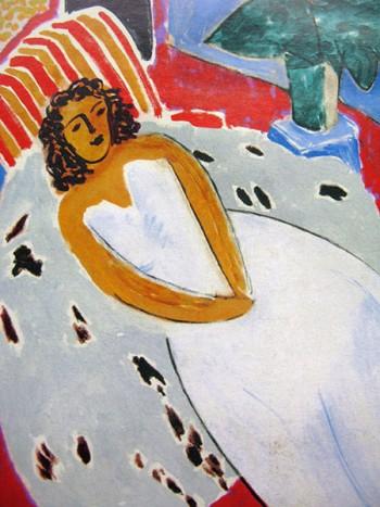Matisse arte 450 Giovane donna in bianco sfondo rosso particolare 1946 Centre Pompidou Parigi