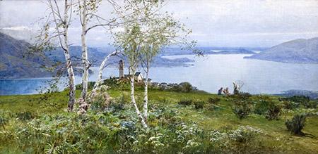 ARTE 450 Ludovico Cavaleri, Dalle montagne del lago Maggiore, 1898, olio su tela, ARTE 70 x 141,5 cm, courtesy Galleria Bottegantica, Milano-Bologna