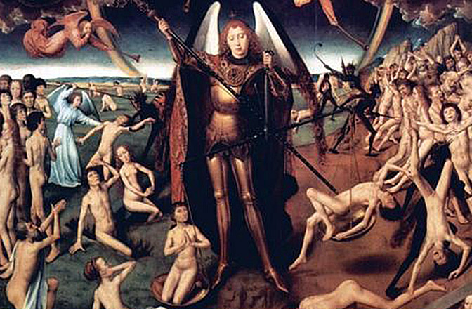 Hans Memling arte 672 Last-Judgment-Triptych,-central-panel-Maiestas-Domini-and-Archangel-Michael-with-the-scales-weighing-the-souls,-Detail