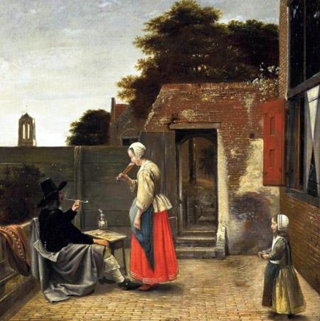 arte Pieter de Hooch Uomo che fuma e donna che beve in cortile 1658-60 c.a.
