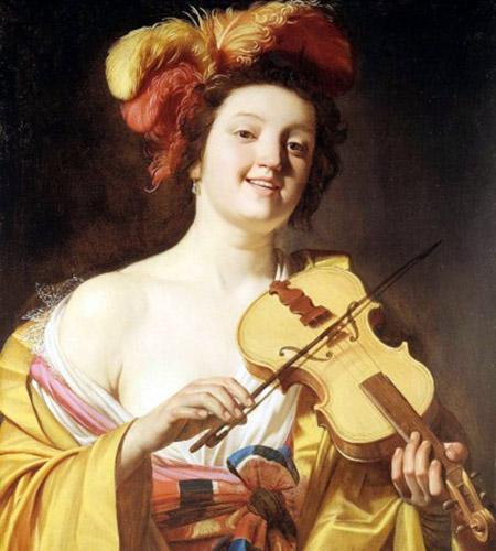 arte particolare Gerrit van Honthorst Suonatrice di violino 1626