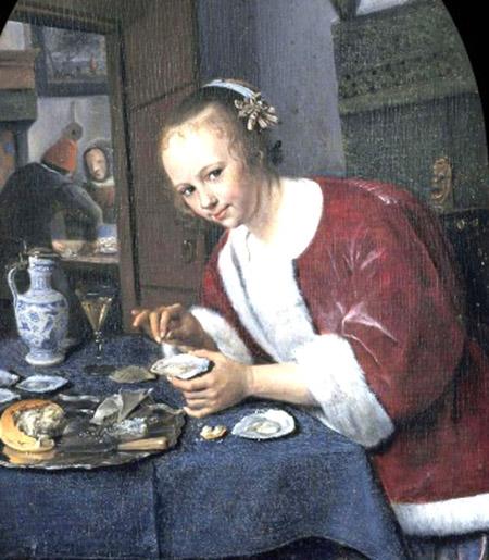 arte particolare Jan Steen Ragazza che mangia ostriche 1658-60 c.a.