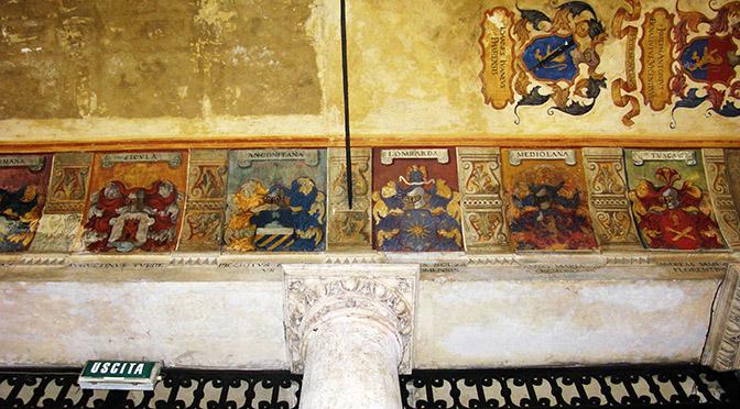 Padova Università soffitto con gli stemmi dei laureati illustri