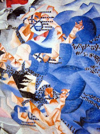arte Gino Severini, Ballerina blu, 1912, olio su tela con lustrini, Venezia, Peggy Guggenheim, particolare.
