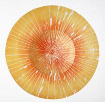 Arte Alessandra Angelini, Onirica, 2013, xilografia stampata dall'artista a torchio e a mano_ foglia oro, esemplare unico, raggio cm 30  (1)