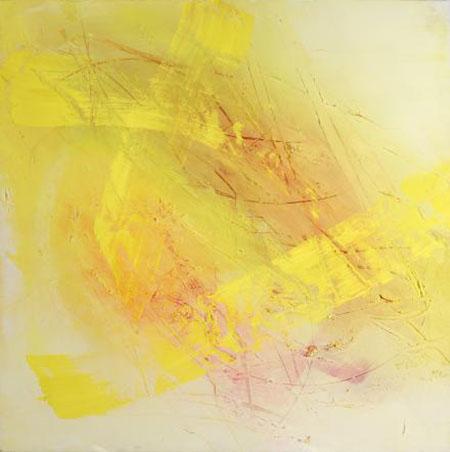Arte Alessandra Angelini, Yellow, 2004, tempera preparata dall'artista su tavola _ interventi materici, cm 100x100