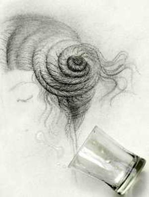 0 300 Omar Galliani_Il disegno nell'acqua_1979_2015_matita su carta_acqua e vetro su carta_cm 40x30