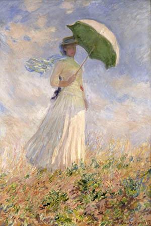 arte 300 35. MONET Studio di figura en plein air. Donna con parasole girata verso destra (1886)