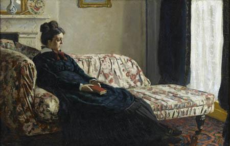 arte 450 17. MONET Meditazione. La signora Monet sul divano (1871 ca)