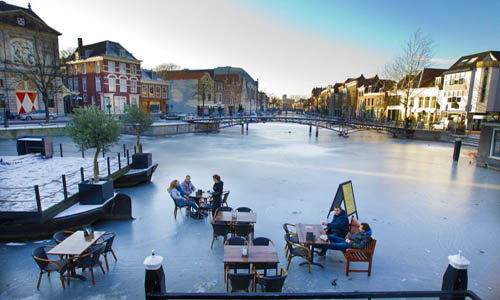 Olanda 500 Leiden canale ghiacciato